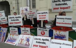 Transportatorii Rutieri au protestat la ambasadele Germaniei şi Franţei