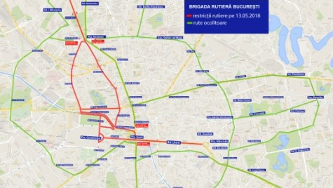 Trafic restricţionat în Capitală. Vezi traseele alternative