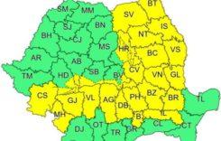 Cod galben de ploi şi ninsori în 25 de judeţe
