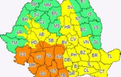 Cod galben şi portocaliu în Oltenia, vestul Munteniei, sudul Banatului şi Carpaţii Meridionali