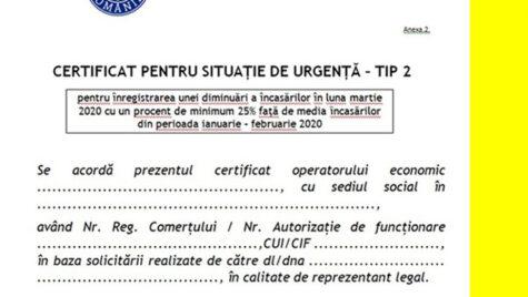 Obţinerea Certificatului de Situaţie de Urgenţă tip 2, prelungită cu 30 de zile