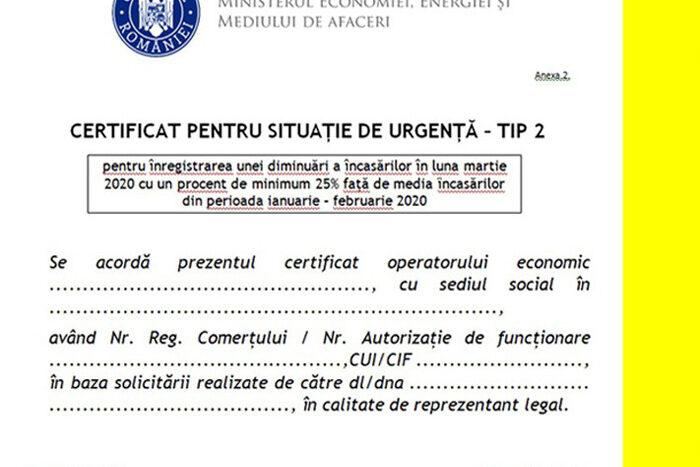 Certificatului de Situaţie de Urgenţă tip 2